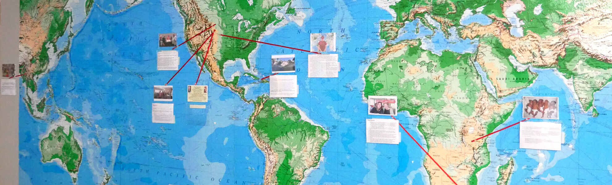 Map of the world with WestWay missions listed